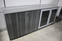 Safco Medina Series Low Wall Cabinet With Glass And Wood Doors