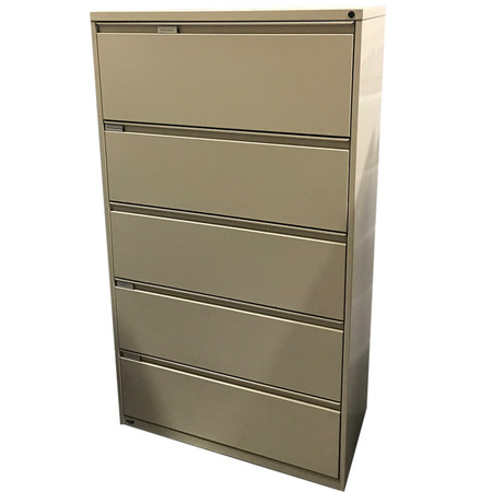 """Kimball Beige Fundamental 36"""" 5-Drawer Lateral File With Roll-Out Shelf and Lift Door"""