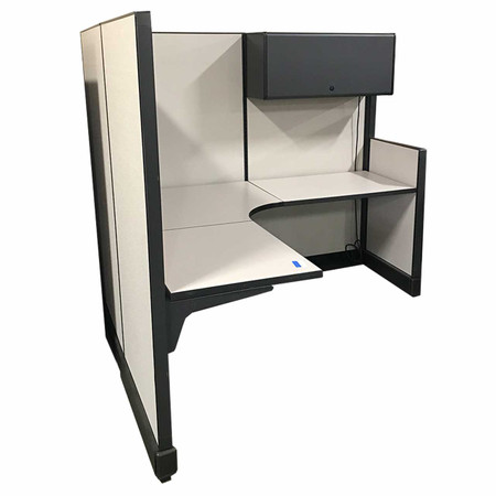 Herman Miller 5.5' x 6' Workstation with Hanging Single Overhead Compartment