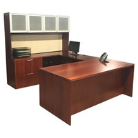 Cherry U-shape Desk With Glass Door Hutch Lateral File & Box Box File Storage
