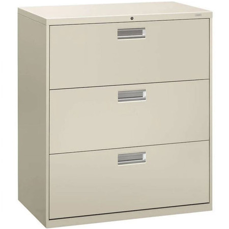 "HON Brigade 600 Series 3-Drawer Lateral File Cabinet, Locking, Letter/Legal, Gray, 36""W"