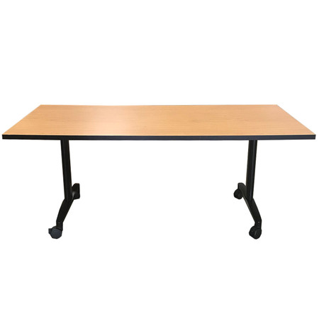 HON Huddle Flip-Top Training Table 30in x 72in Harvest Laminated Finish With Black Flip Base