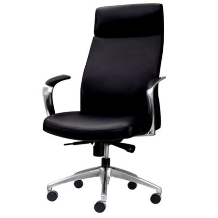 Express Office Furniture Leo High-Back Conference Chair With 5-Star Aluminum Base & Fixed Arms