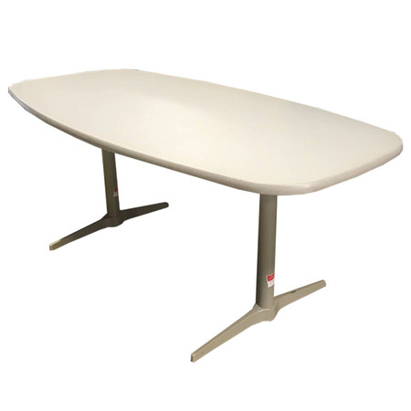 "Cherryman 72"" Laminated Boat Shaped Conference Table With Metal Legs"