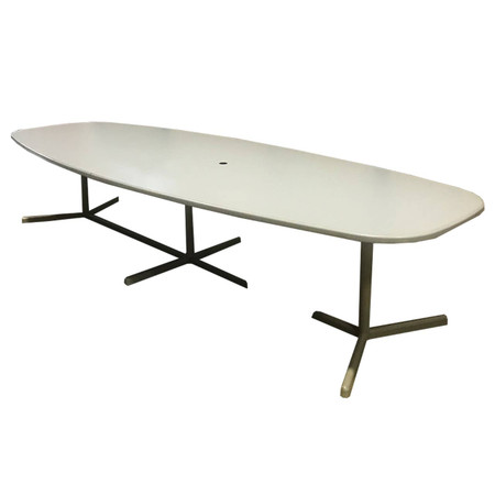 "Cherryman 144"" Grey Laminated Boat Shaped Conference Table With Metal Bases"