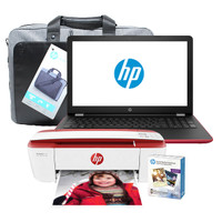 HP Notebook - 15-bw010cy, AMD A9 Series@3.0 GHz, 4 GB DDR4 RAM, Windows 10, and HP 3755 inkjet printer with Socal Media Photo Paper, with an HP Essential Top Load Case Bundle (Renewed)