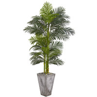 "Nearly Natural 9769 7 Golden Cane Artificial Palm Cement Planter Silk Trees Green (7' H x 45""W x 40""D)"