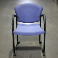 Allsteel Blue/Purple stack chair with arms