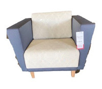 Hon Lounge Chair Tan Seat with Grey Fabric Arms