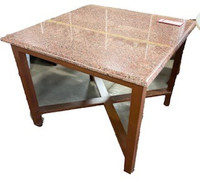 Marble top occasional side table with wood legs