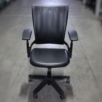 Black Leather Task Chair Allsteel