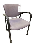 Stacking side chair in purple fabric with casters