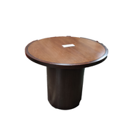 "30"" Wood Round Conference Table With Inlay"