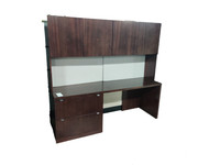 Geiger Credenza and Hutch in Dark Walnut Veneer