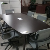 Boat Shape Conference Table w/GrommetEspresso