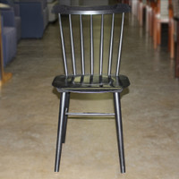 Black Wood breakroom chair w/ slotted back