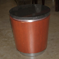 granite top wood base cylinder side table with silver lined base
