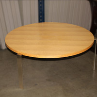 """HBF 36"""" round coffee table oak top with metal legs"""