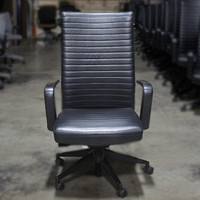 HPF Black Leather Conf Chair