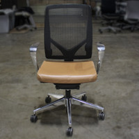 Allsteel Conf Chair metal arm mesh back tan leather seat