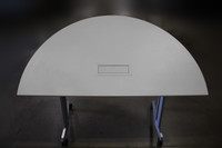 "Haworth 30""X60"" Mobile White Half Moon Tables W/Power Box"