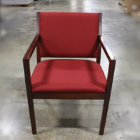 Red Guest Chair Square Wood Arm 1