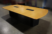 10' x 5' Neinkamper Blonde Wood Conference Table w/Dark Legs 2 Power Boxes