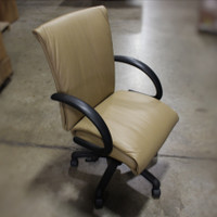 Compel Camel Leather Task Chair w/Black Arms