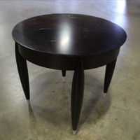 "24"" Round Dark Walnut Side Table w/Silver Tip Legs"