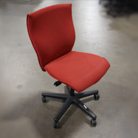 Allsteel NRG Armless Red Task Chair w/ Waterfall Seat Front
