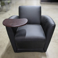 Mayline Black Vinyl Club Chair with tablet arm