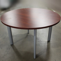 "48"" round mahogany table w/metal legs"