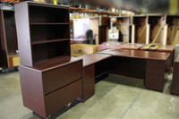 National Mahogany L-Shape, Left Hand w/Bookcase-Lateral File Combo
