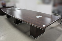 14' Boat Shape Conference Table w/Data Boxes (Black Forest Walnut Finish)