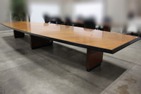 20' Cherry Veneer Boat Shape 2-Piece Conference Table