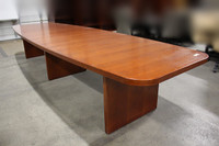 14' Cherry Veneer Boat Shape 2-Piece Conference Table