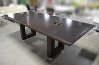 7' x 3' Dark Walnut Conference Table w/Power Boxes