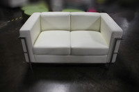 COE White Faux Leather Loveseat