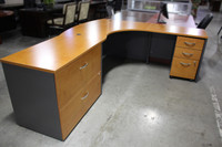 Maple L-Shape Desk with Box/Box/File and 2-Drawer Lateral File