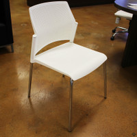 Sitmatic Armless White Stack Chair