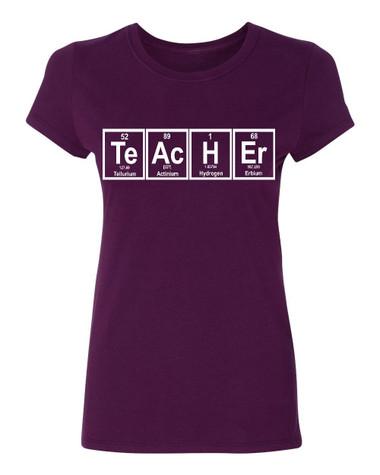 Teacher periodic table Ladies T-Shirt, maroon