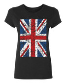 Union Jack British Flag Ladies T-Shirt, black