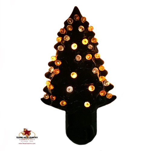 Black tree night lights with candy corn color lights (clear yellow and orange).