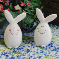 Bunny Rabbit Egg Shaped Salt & Pepper Shakers in Soft White Ideal for Easter or Spring