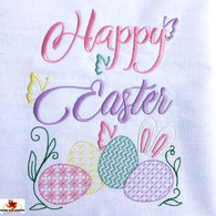 Happy Easter Embroidery Design on White Cotton Kitchen Towel, Made in the USA