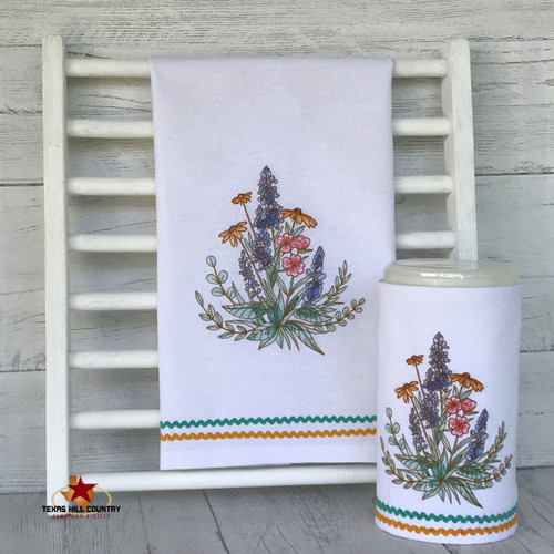 Cotton dish towel and large sanitary wipe cover set with embroidered wildflowers of Texas.