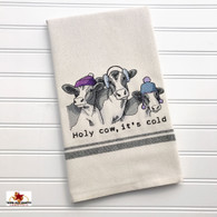 Holy Cow, it's cold country cow embroidery on cotton dish towel.