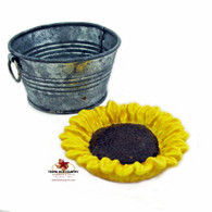 Blooming Sunflower Personal Size Tea Bag Holder Small Spoon Rest in Yellow, Tuscan Red or Cream