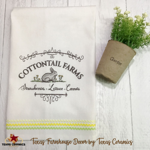 Cottontail Farms Bunny Rabbit Embroidery on Natural Cotton Towel.
