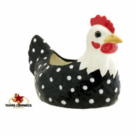 Chicken Scrubby Holder or Scouring Pad Holder Window Sill Planter or Catch All - Black and White